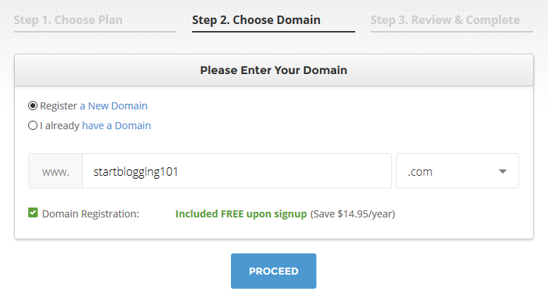 Start Blogging Choose Domain Name