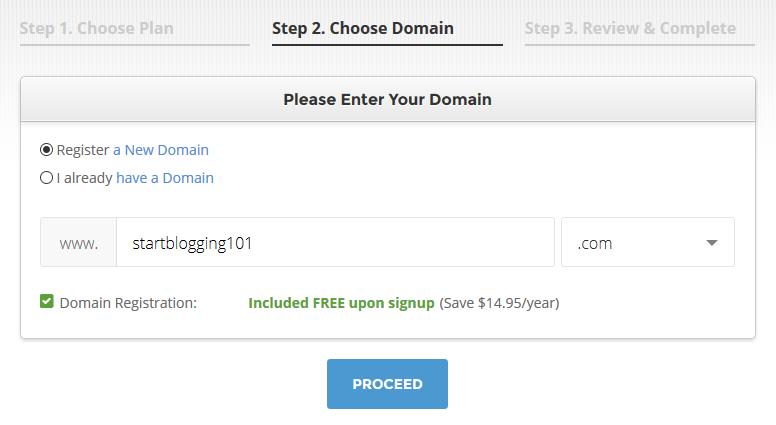 Start Blogging Choose Domain Name