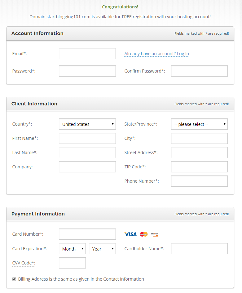 Fill Out Account and Payment Information