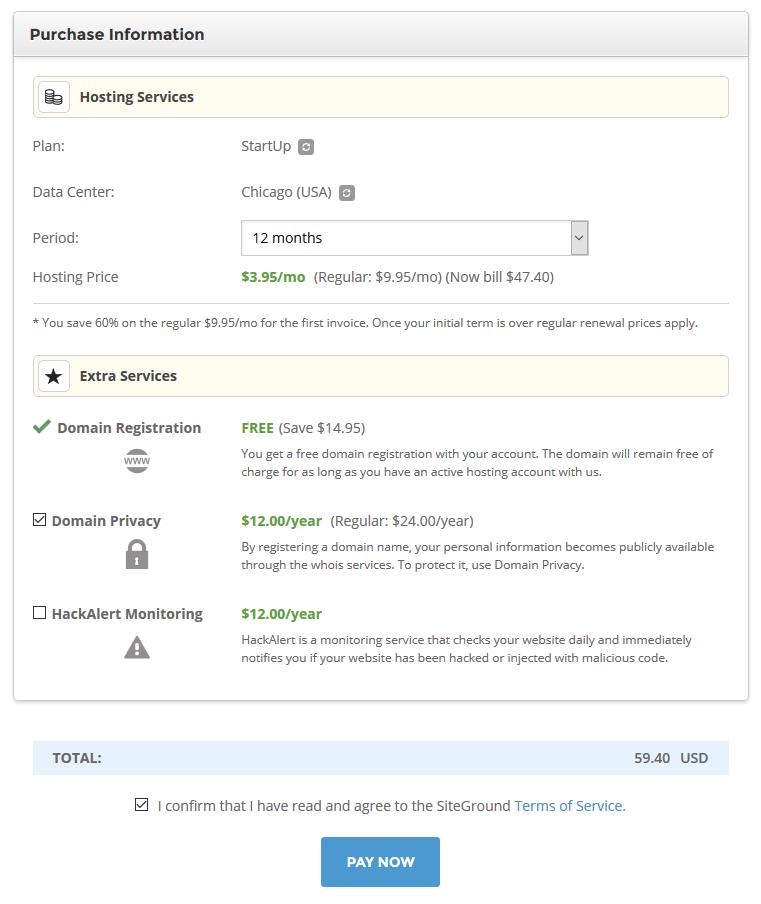 Blog Web Hosting Purchase Information