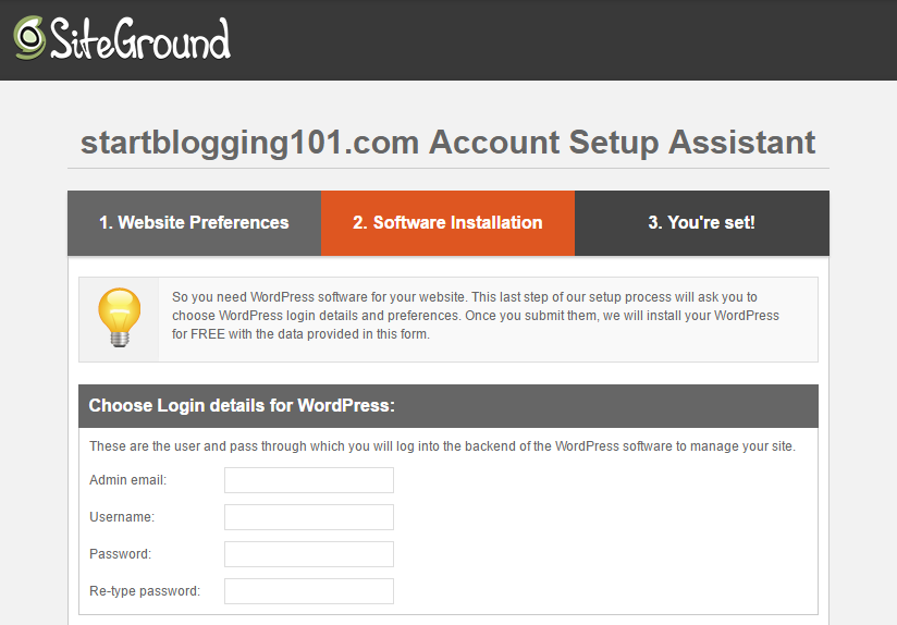 Start Blogging WordPress Account Setup