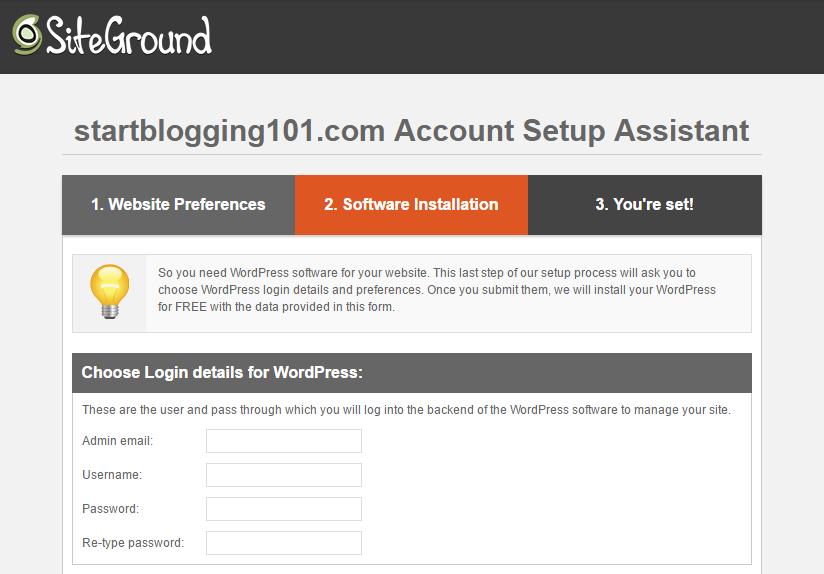 Start Blogging WordPress Account Setup