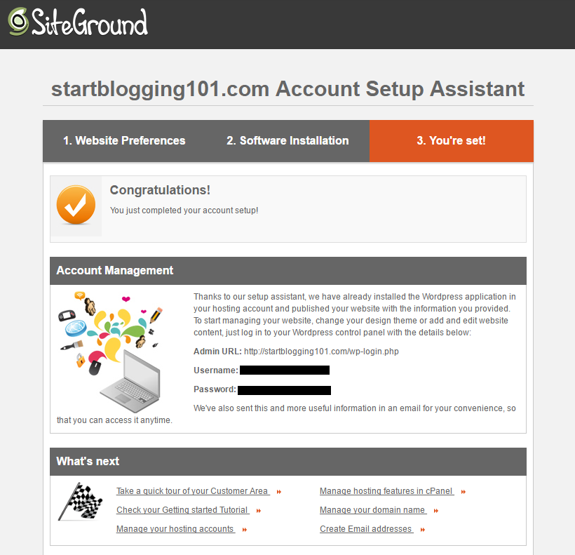 Start Blogging WordPress Setup