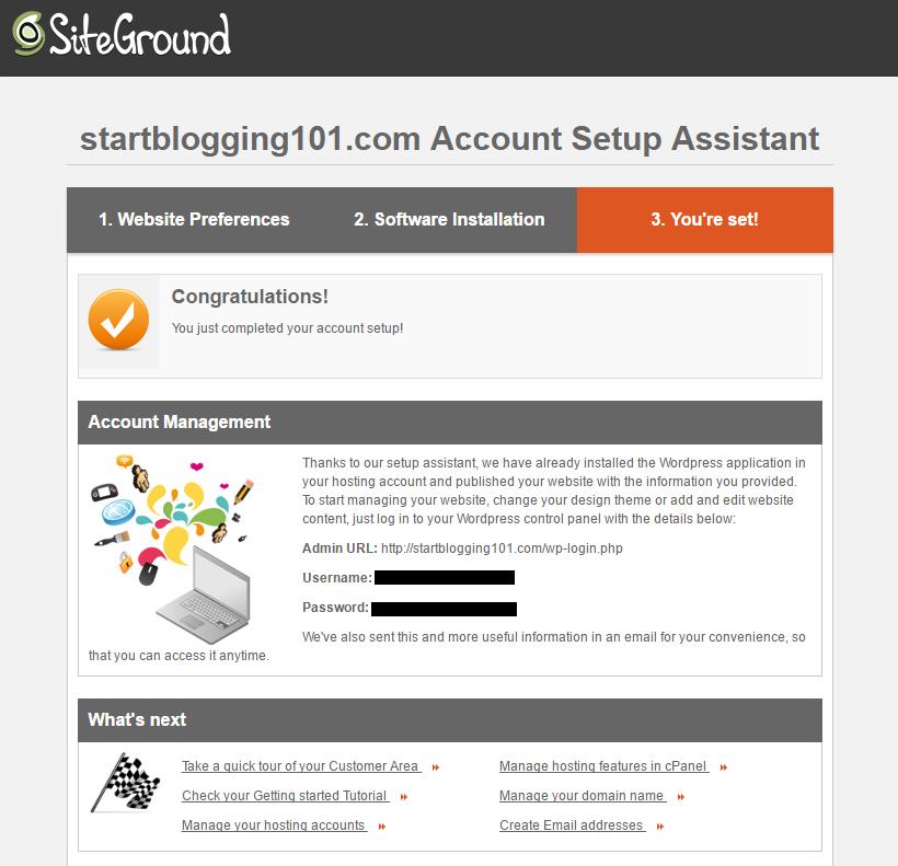 Start Blogging WordPress Setup