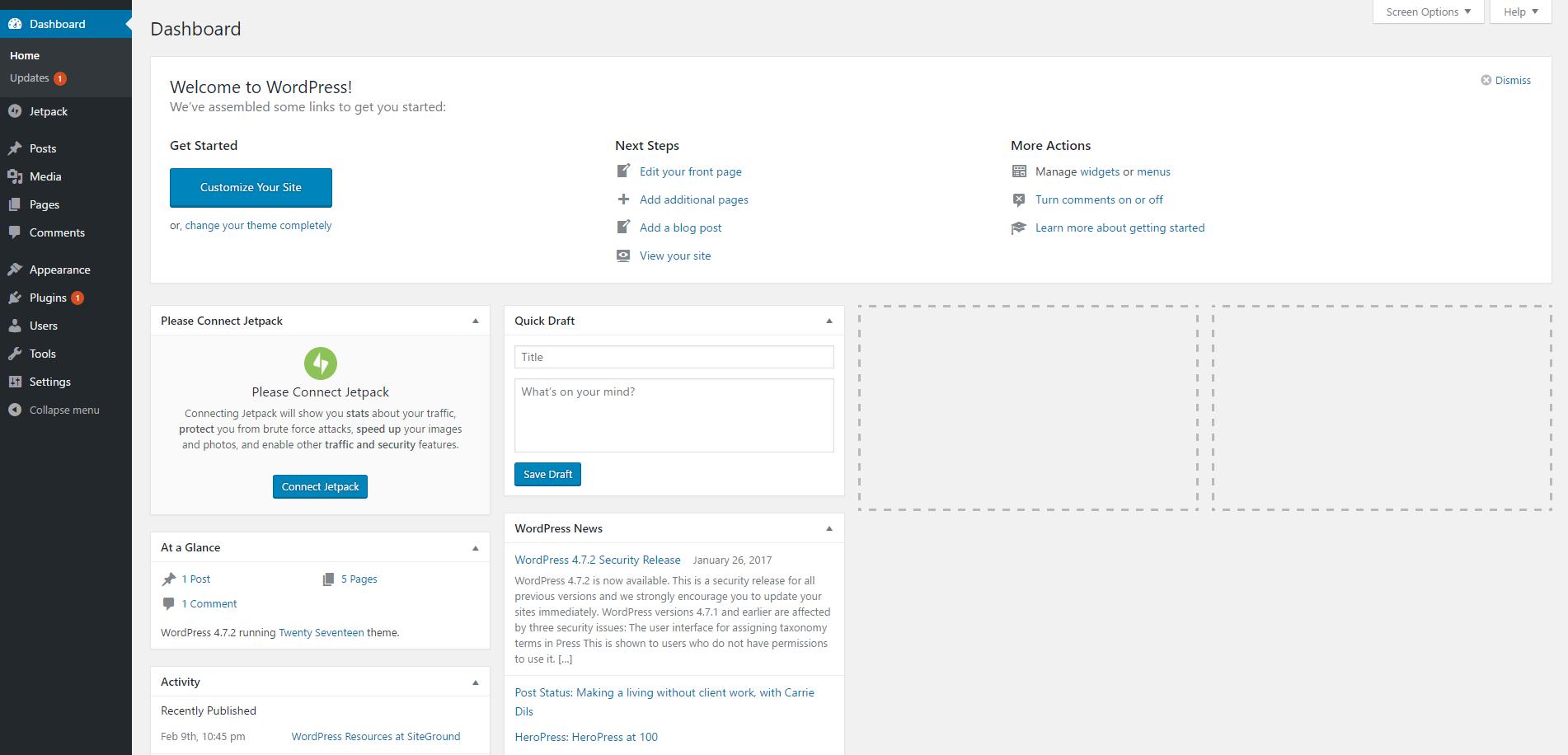 Start Blogging 101 WordPress Dashboard