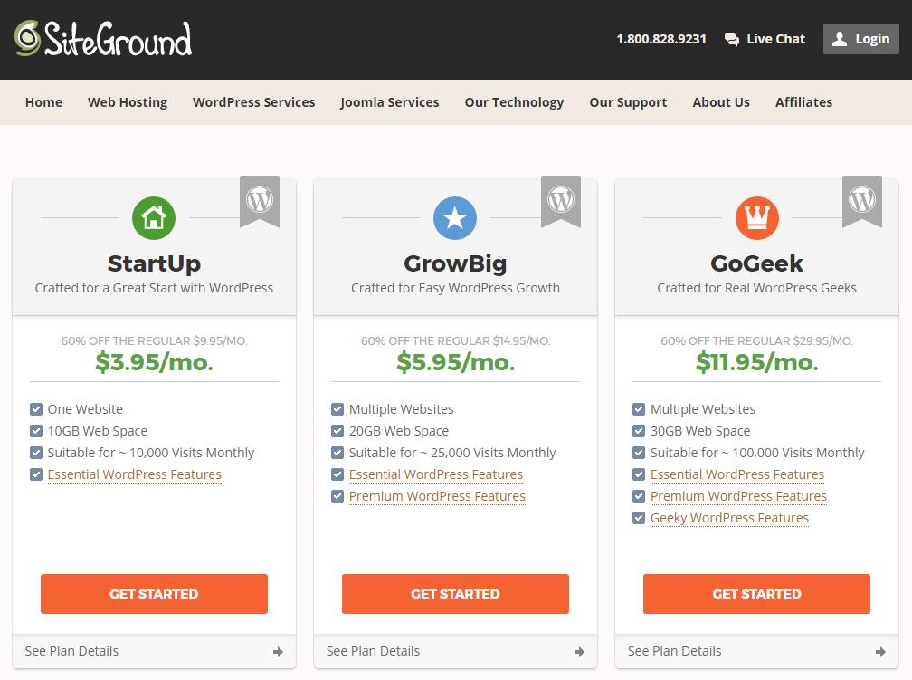 WordPress Web Hosting Plans