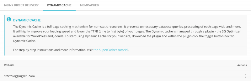 SiteGround Site Tools Dynamic Cache