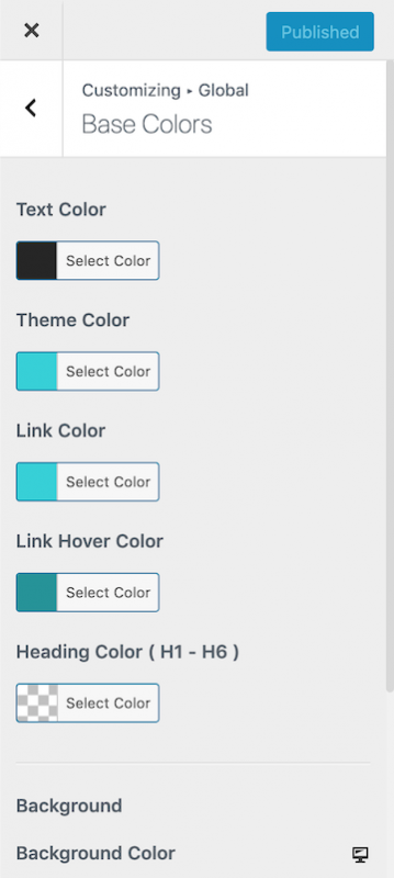 Astra Pro Theme Color Customization Options