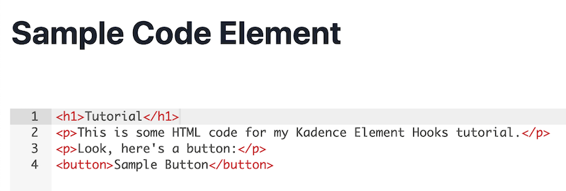 Kadence Element Hooks Tutorial Sample Code Element