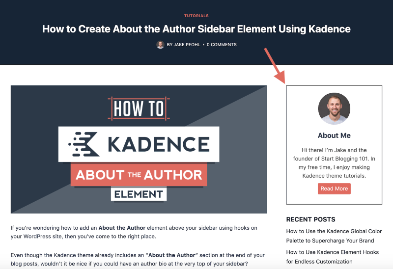 How to Add About the Author Sidebar Element in Kadence Published
