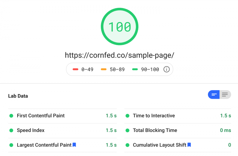 GeneratePress Theme Google Page Speed Insights 100 Mobile