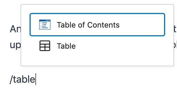 Kadence Blocks Table of Contents Gutenberg Shortcut