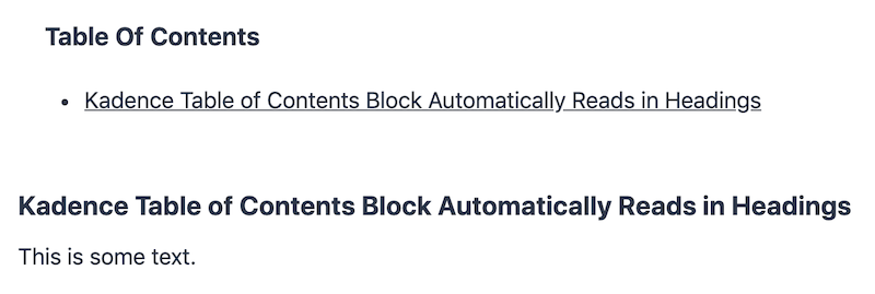 Kadence Table of Contents Block Automatically Read In Headings