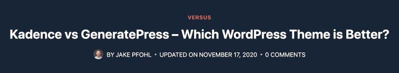 Kadence vs GeneratePress Blog Page Header Layout