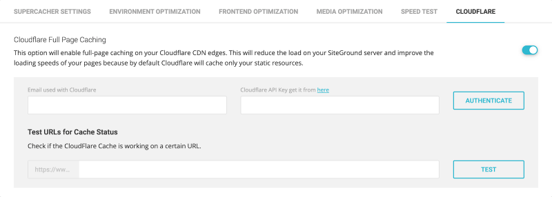 Fastest SG Optimizer Settings Cloudflare Full Page Caching Enabled