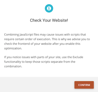 SG Optimizer Combining JavaScript Files May Cause Issues With Scripts Warning