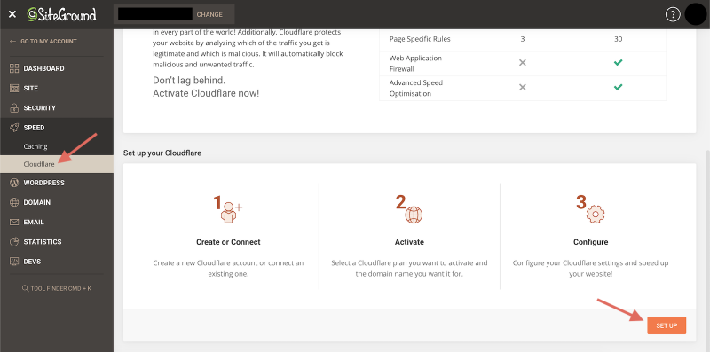 SiteGround Site Tools Activate Cloudflare CDN Set Up