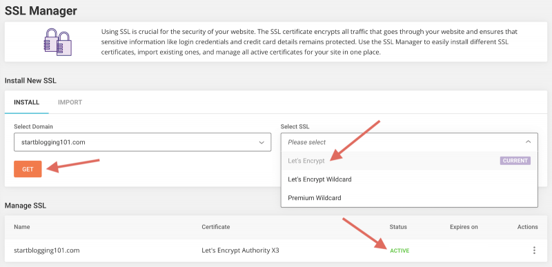 SiteGround Site Tools SSL Manager Lets Encrypt
