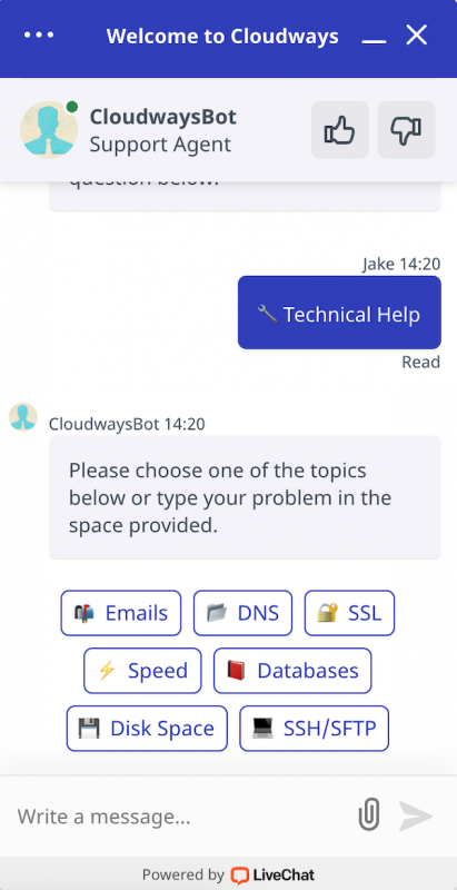 Cloudways Live Chat Support CloudwaysBot Support Agent Technical Help Options