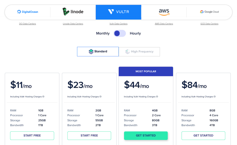 Cloudways Pricing Vultr Standard Server Monthly Cost