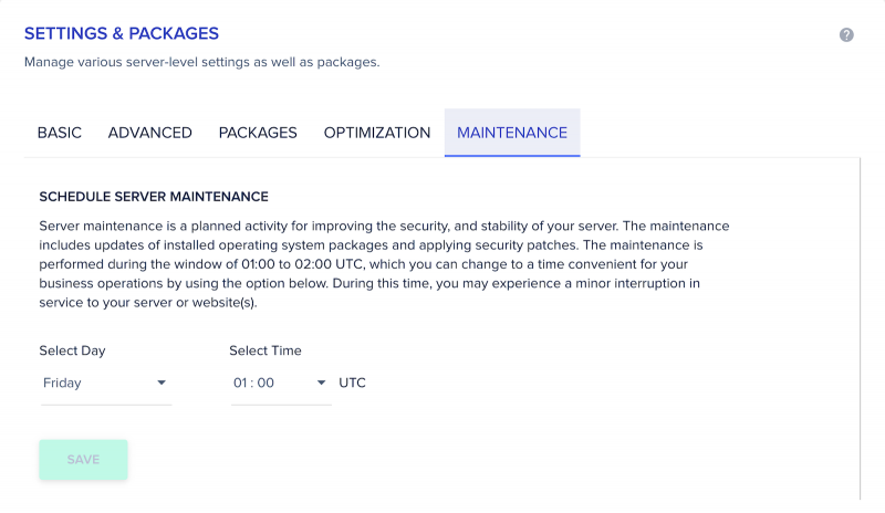 Cloudways Server Management Settings and Packages Maintenance Tab Schedule Server Maintenance