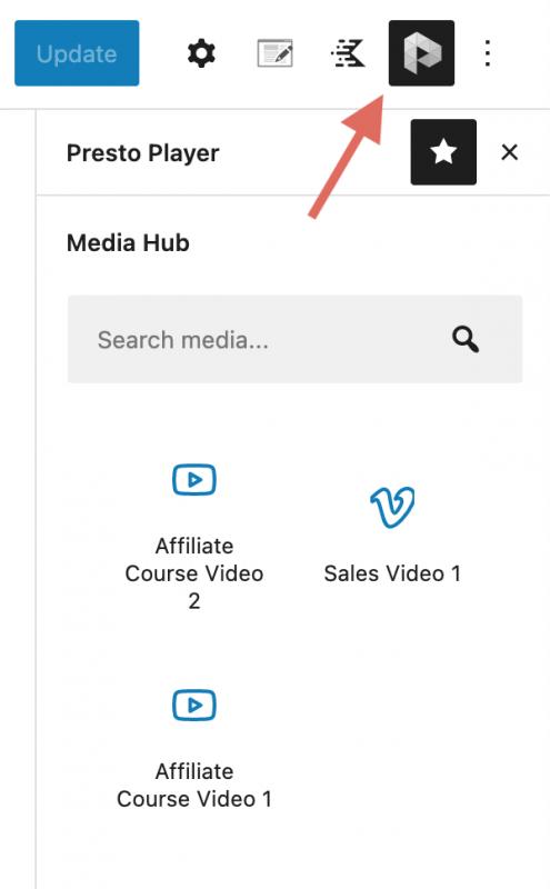 Presto Player Media Hub Option In Gutenberg WordPress Block Editor