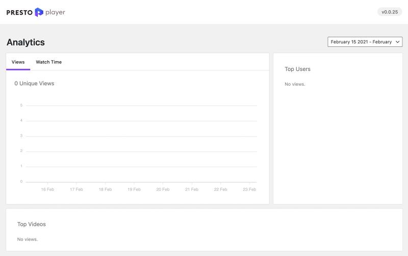 Presto Player Pro Analytics Page