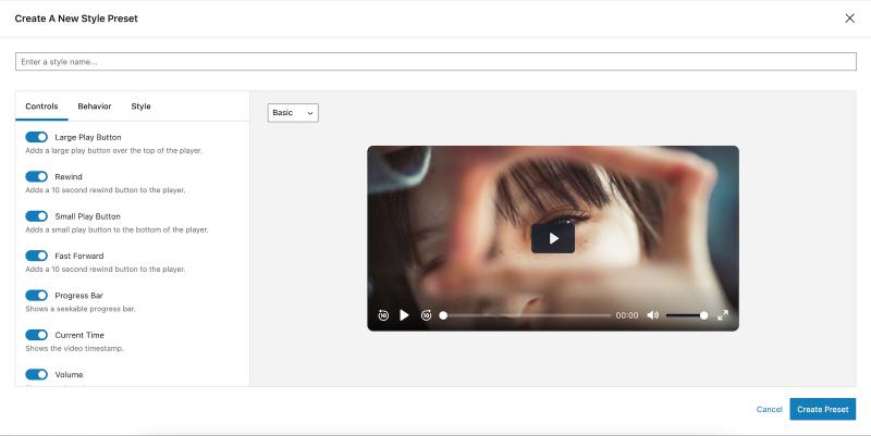 Presto Player Tutorial Create a New Video Preset Modal