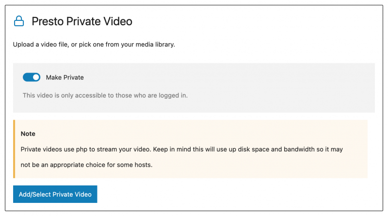 Presto Private Video Block In WordPress Block Editor Gutenberg